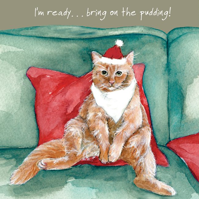 Cat Christmas.Ginger Cat Christmas Card Pudding Ready