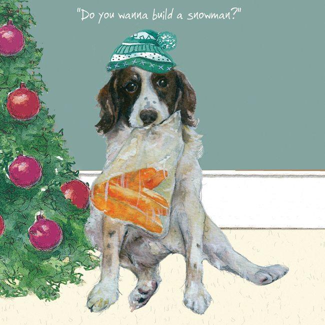 Dog Christmas Cards.Springer Spaniel Christmas Card Snowman